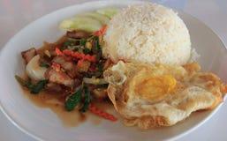 Carne di maiale croccante del basilico del riso Immagine Stock