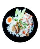 Carne di maiale croccante della pancia ed arrostita con il flusso continuo del riso immagini stock