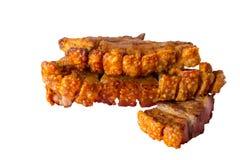 Carne di maiale croccante isolata fotografia stock