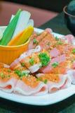 Carne di maiale cruda marinata per il bbq Immagini Stock Libere da Diritti