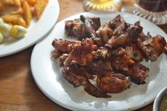 Carne di maiale del BBQ e pollo arrostito immagine stock