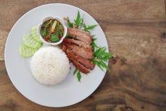 Carne di maiale del collo del BBQ con riso Fotografia Stock Libera da Diritti