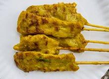 Carne di maiale deliziosa Satay del curry del pane tostato dell'alimento di cucina Immagine Stock