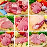 Carne di maiale della carne a bordo dell'insieme Fotografie Stock Libere da Diritti