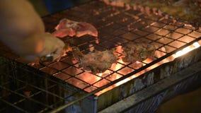 Carne di maiale della griglia alla notte stock footage