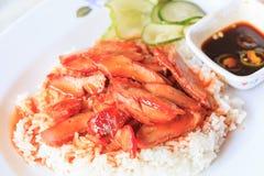 Carne di maiale di rosso del riso Immagine Stock