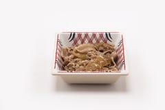 Carne di maiale di Steawed su fondo bianco fotografia stock