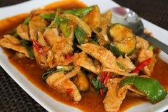 Carne di maiale e basilico in padella tailandesi, kra Prao del cuscinetto immagine stock libera da diritti