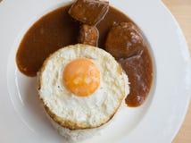 Carne di maiale ed uovo del Bbq con riso Fotografia Stock Libera da Diritti