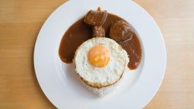 Carne di maiale ed uovo del Bbq con riso Fotografie Stock