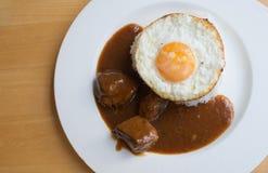 Carne di maiale ed uovo del Bbq con riso Immagini Stock Libere da Diritti