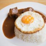 Carne di maiale ed uovo del Bbq con riso Immagine Stock Libera da Diritti