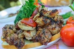 Carne di maiale fresca succosa sul piatto Carne suina fritta Fotografia Stock Libera da Diritti