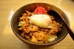Carne di maiale fritta con il kimchi fotografia stock