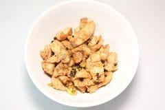 Carne di maiale fritta con il pepe nero dell'aglio fotografia stock libera da diritti