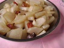 Carne di maiale fritta della rapa bianca Immagini Stock