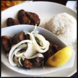 Carne di maiale fritta nel grasso bollente cubano Immagine Stock