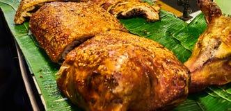 Carne di maiale fritta nel mercato Bangkok Tailandia Fotografia Stock