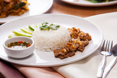 Carne di maiale fritta scalpore con aglio Immagini Stock Libere da Diritti