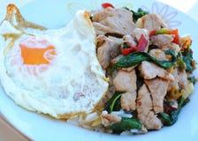 Carne di maiale fritta scalpore con basilico Fotografia Stock