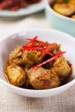 Carne di maiale fritta scalpore con pasta di curry Immagine Stock