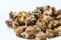 Carne di maiale fritta sul piatto Fotografia Stock