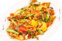 Carne di maiale in pasta di curry rossa Fotografie Stock Libere da Diritti