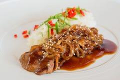Carne di maiale in salsa agrodolce Fotografie Stock Libere da Diritti