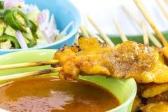 Carne di maiale Satay con la salsa dell'arachide immagini stock