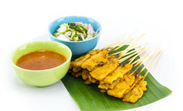 Carne di maiale Satay con la salsa dell'arachide immagine stock