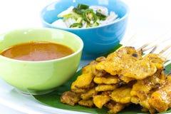 Carne di maiale Satay con la salsa dell'arachide immagine stock libera da diritti