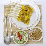 Carne di maiale satay e salsa fotografie stock libere da diritti