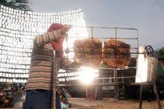 Carne di maiale Solare-arrostita col barbecue da un vetro Fotografia Stock