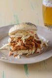 Carne di maiale tirata in un panino con una birra dal lato fotografia stock