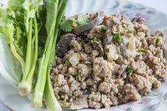 Carne di maiale tritata piccante, alimento tailandese Fotografie Stock Libere da Diritti