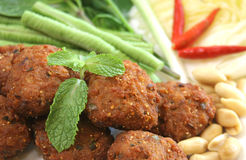 Carne di maiale tritata piccante fritta nel grasso bollente servita con insalata Fotografia Stock