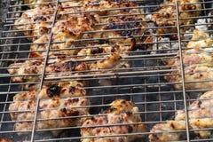 Carne di pollo fritta su una griglia del barbecue Fotografia Stock