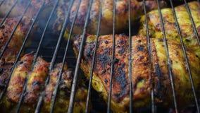 Carne di pollo su una griglia del barbecue archivi video