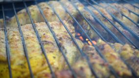 Carne di pollo su una griglia del barbecue video d archivio