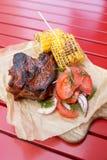 Carne do assado com milho grelhado fotografia de stock royalty free
