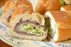 Carne do assado e sanduíche do queijo Imagens de Stock Royalty Free