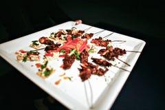 Carne do assado em palitos Fotos de Stock Royalty Free