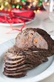Carne do assado na tabela do Natal Imagem de Stock Royalty Free