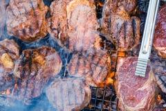 Carne do BBQ da grade da natureza do verão, conceito de carvões imagem de stock royalty free