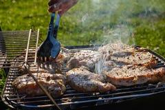 Carne do BBQ da grade da natureza do verão, quintal de carvões fotografia de stock