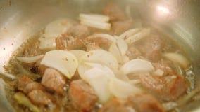 A carne do cozinheiro da refei??o do restaurante cortou a cebola cortada carne vídeos de arquivo