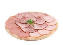 Carne do supermercado fino na bandeja de madeira. Fotografia de Stock