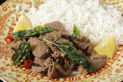Carne dos pimentões com manjericão Fotos de Stock