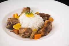 Carne e arroz Imagem de Stock