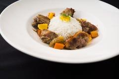 Carne e arroz Fotografia de Stock